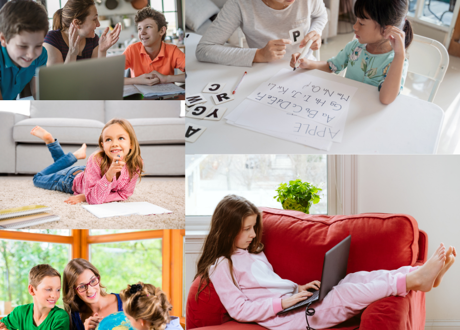Kids learn at home.
